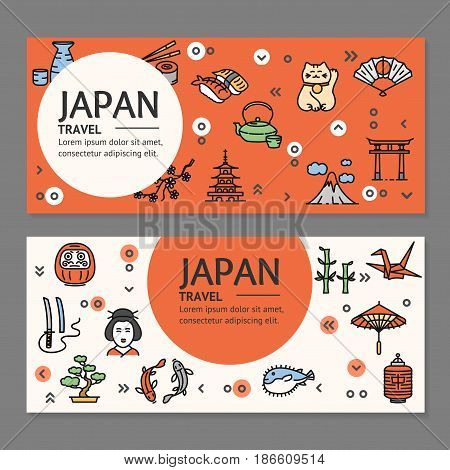Japan Travel Flyers Placrad Banners Horizontal Set witch Outline Icons Discover Asia Landmark. Vector illustration