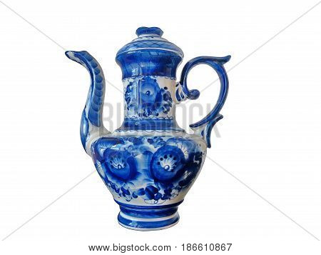 The big teapot on a white background. Teapot in Russian traditional Gzhel style. Closeup. Isolated on white.