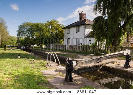 The 200 year old New Marton upper lock on the Shropshire Union canal an idyllic view on the British inland waterway network