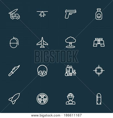 Army Outline Icons Set. Collection Of Officer, Target, Zoom Glasses And Other Elements. Also Includes Symbols Such As Glass, Grenade, Hazar.