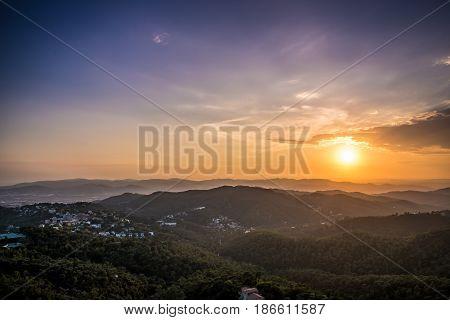 Sunset from Mountain Tibidado in Barcelona Spain Europe