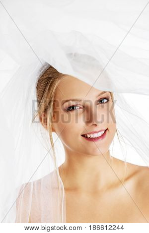 Close-up portrait of a pretty bride with a veil