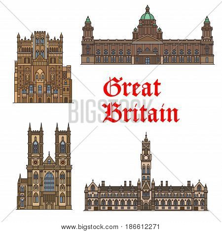 English travel landmark of Great Britain icon set. Gothic church Westminster Abbey, Durham Cathedral, Bradford City Hall and Belfast City Hall thin line symbol for travel and tourism design