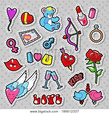 Love and Romance Doodle with Hearts, Lips and Flowers. Valentines Day. Vector badges, patches and stickers