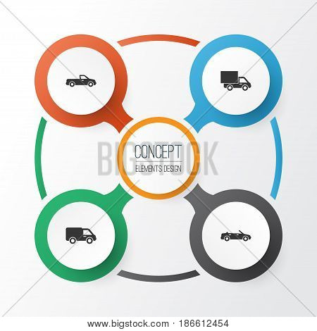 Auto Icons Set. Collection Of Carriage, Convertible Model, Lorry And Other Elements. Also Includes Symbols Such As Carriage, Cabriolet, Truck.