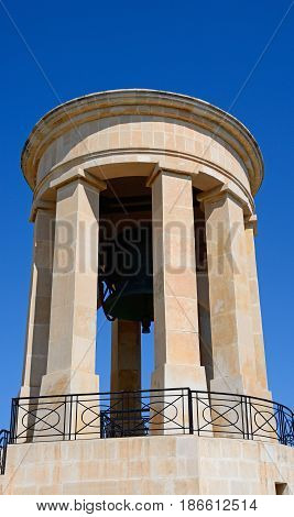 View of the Siege Memorial bell tower Valletta Malta Europe.