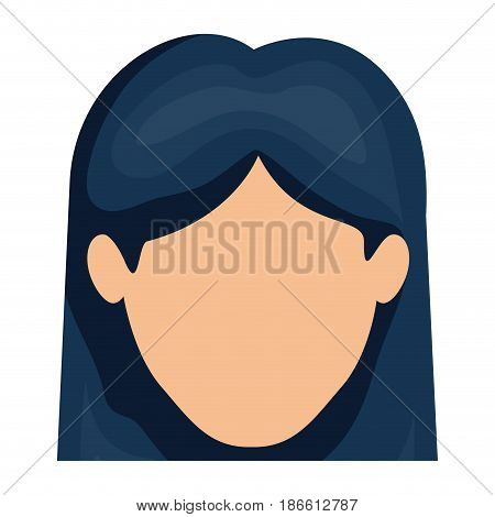 white background of faceless woman with straight hair in dark blue vector illustration