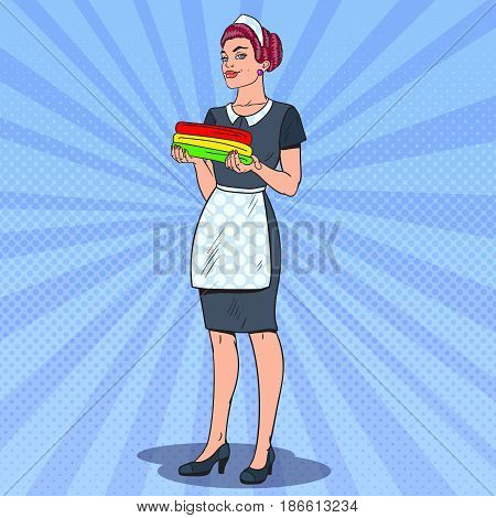 Female Chambermaid Holding Clean Towels. Hotel Cleaning Service. Pop Art vector illustration