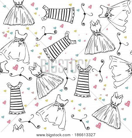 Hand draw seamless pattern with fashion clothes