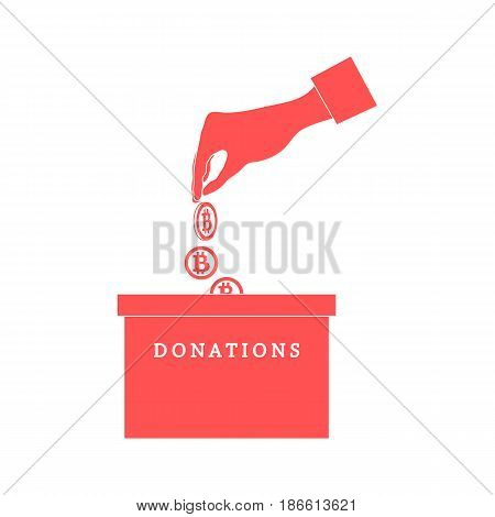 Stylized Icon Calling To Make A Donation. Hand Pouring The Bitcoins In The Donation Box