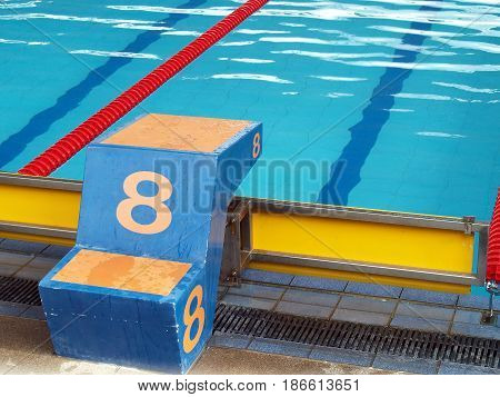 closeup plunge pool number 8, cement platform for swimming sport competition