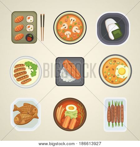 Traditional Japan food meal cooking culture gourmet lunch healthy restaurant japanese asian cuisine vector illustration. Fresh dish dinner roll tuna delicious diet appetizer tradition seaweed snack.