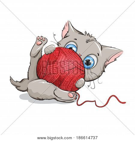 Funny gray kitten playing with a ball of yarn. Background white