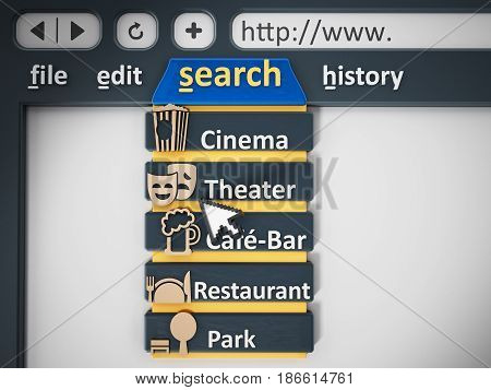 Search tab of an internet browser. 3D illustration.