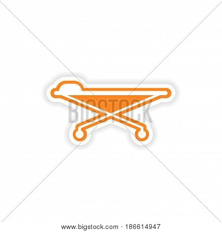 paper sticker on white background medical stretcher