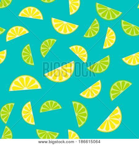 Vector Seamless Pattern, Background With Slices Of Lemon And Lim