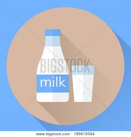 Vector Flat Icon Bottle And A Glass Of Milk