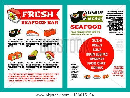 Japanese seafood restaurant and sushi bar menu template. Shrimp nigiri sushi, salmon and tuna roll with avocado, cucumber and red caviar fillings, supplemented with text layouts for asian food design