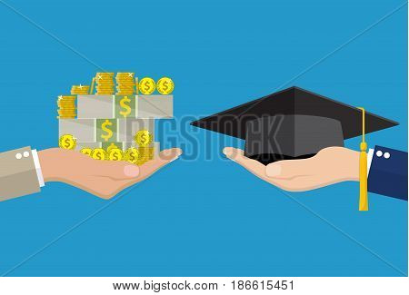 Education for money concept. Hand holding graduation cap and another hand holding money . vector illustration in flat style