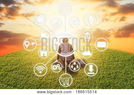 businessman with drawn business icons. Rear view of worker kneeling on the start pose to success. business competition concept. motivation