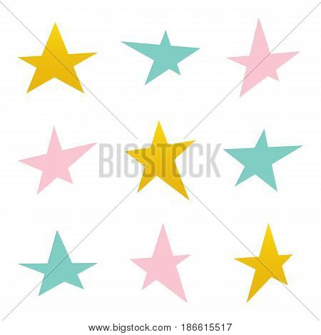 Set, collection of colorful asymmetrical stars isolated on white background.