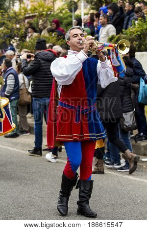 MURAVERA, ITALY - April 2, 2017: 45 Festival of citrus - Parade of folk group