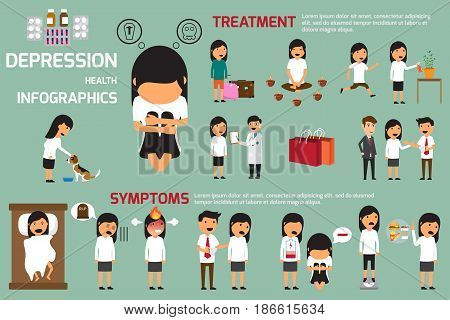 Depression signs and symptoms infographic concept. despair psychology adult miserable depressed heartbroken vector flat cartoon illustration poster. Sad guy man character. vector illustration.