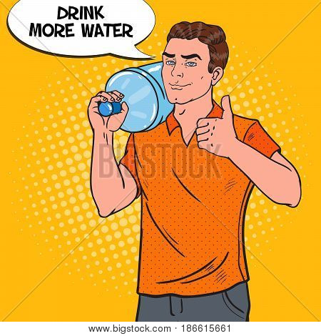 Delivery Service. Deliveryman with Water Jug. Pop Art vector illustration