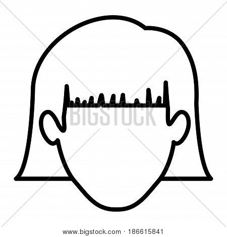 monochrome contour of faceless woman with short hair with bangs vector illustration