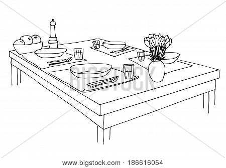 Served table. Plates glasses knives forks and a vase with flowers on the table. Hand drawn sketch of the table. Vector illustration.