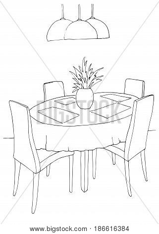 Part of the dining room. Round table and chairs.On the table vase of flowers. Lamps hang over the table. Hand drawn sketch.Vector illustration.