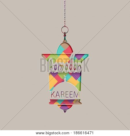 Ramadan Kareem inscription. Greeting card. A lantern in an oriental style hangs on a chain. Cut out of paper on a gray background. Vector illustration