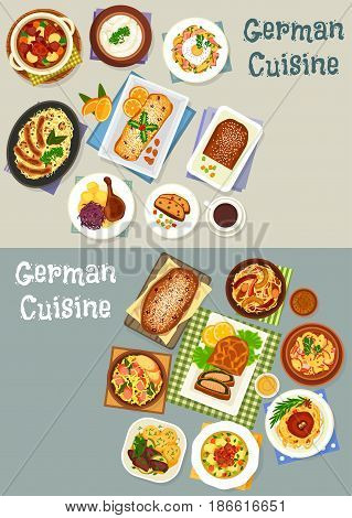 German cuisine festive dinner icon set of cabbage stew with pork sausage, potato bacon salad, baked goose, sweet bread and fruit cake, fish pie, fried cheese potato with egg, liver apple stew