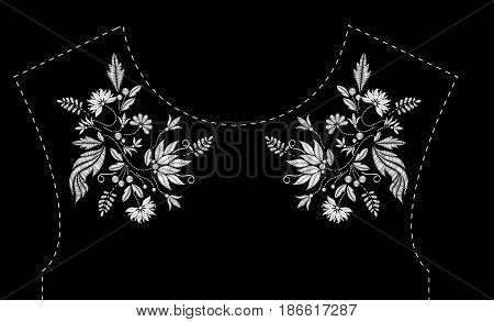 Satin stitch embroidery design with flowers. Folk line floral trendy pattern for dress neckline. Ethnic fashion white ornament for neck on black background