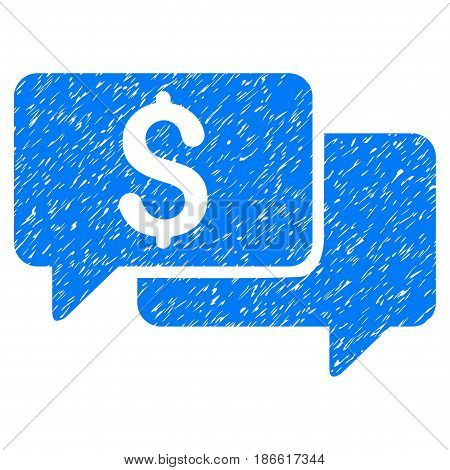 Grunge Price Bids icon with grunge design and scratched texture. Unclean vector blue pictogram for rubber seal stamp imitations and watermarks. Draft sticker symbol.