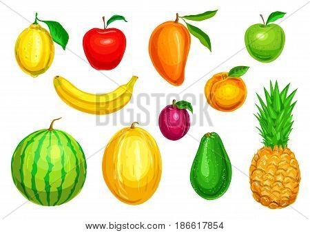 Fruit watercolor illustration set. Red and green apple, lemon, banana, pineapple, mango, watermelon, plum, melon and avocado tropical and garden fruit for diet dessert, fresh juice design
