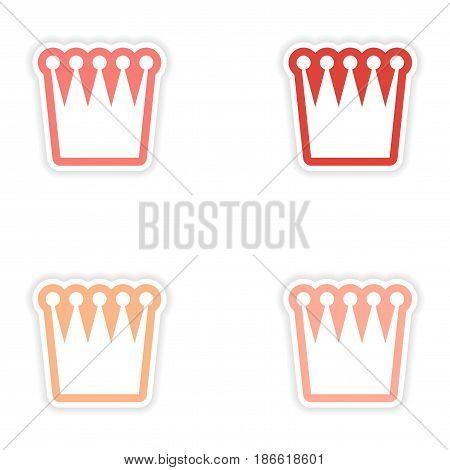 Set of stickers British crown on white background