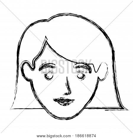 monochrome blurred silhouette of smiling woman face with the hair down to the neckline vector illustration