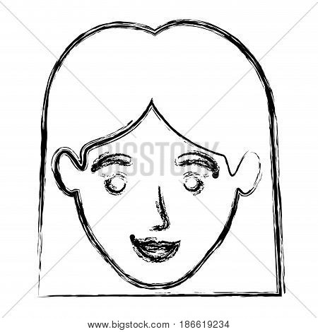 monochrome blurred silhouette of smiling woman face with straight short hair vector illustration