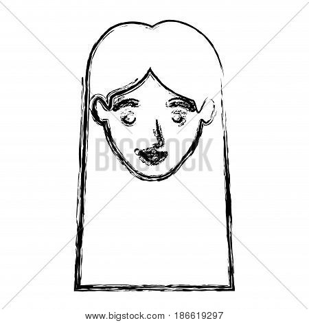 monochrome blurred silhouette of smiling woman face with straight long hair vector illustration