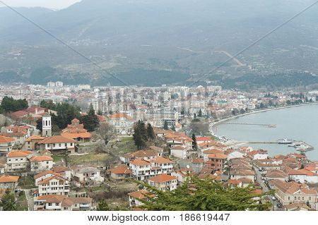 Ohrid lake seen from Church of St. Panteleimon in Ohrid, Republic of Macedonia