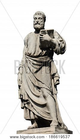 Saint Peter holding the key of heaven statue on Holy Angel Bridge in Rome made in the 17th century by sculptor Lorenzetto (isolated on white background)