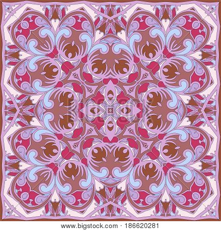 Bright color pattern in Oriental style. Square ornament for shawls, scarves or pillow.Vector illustration.
