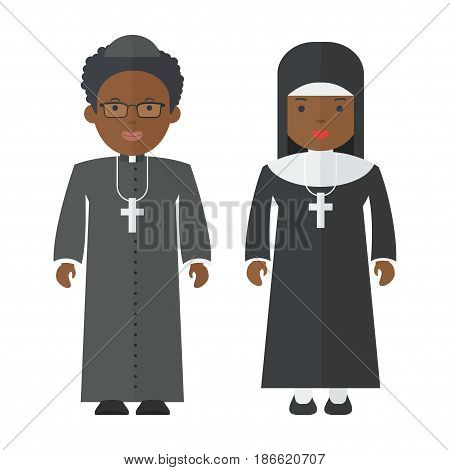 Black people catholic priest and nun. Objects isolated on white background. Flat cartoon vector illustration.