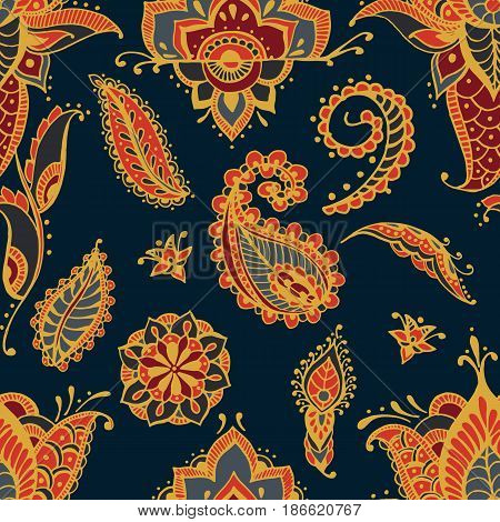 Bright seamless pattern with paisley mehndi elements. Hand drawn wallpaper with floral traditional indian ornament on dark background
