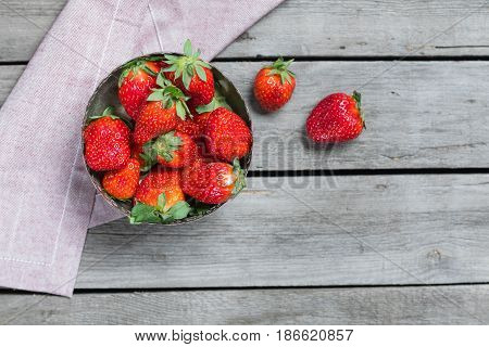 Fresh Red Strawberries In Bowl With Napkin On Wooden Tabletop. Summertime Concept, Berries On Wood C