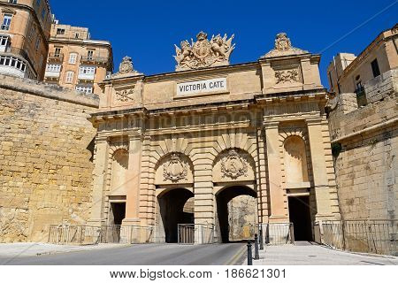 View of Victoria Gate built from limestone Valletta Malta Europe.