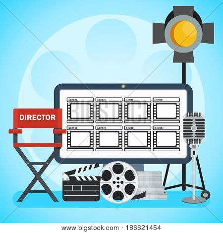 Video production poster. Computer and Storyboard director chair and film. Flat vector cartoon illustration. Objects isolated on a white background.