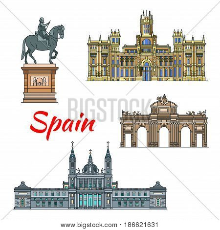 Spanish travel landmark of Madrid thin line icon set. Cybele Palace, catholic Almudena Cathedral, triumphal arch Alcala Gate and Plaza Mayor Statue Of King Philip 3 for travel and tourism design