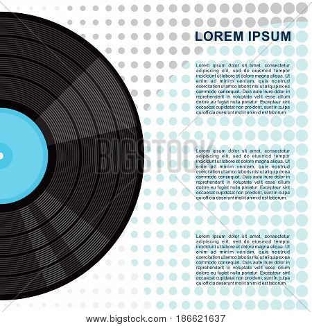 Vinyl gramophone record poster. Flat vector cartoon illustration. Objects isolated on a white background.